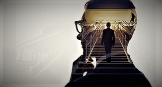 Immagine di Person walking up the stairs inside a head silhouette