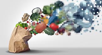 Immagine di Groceries evaporating into digital particles