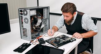 Immagine di A colleague fixing hardware